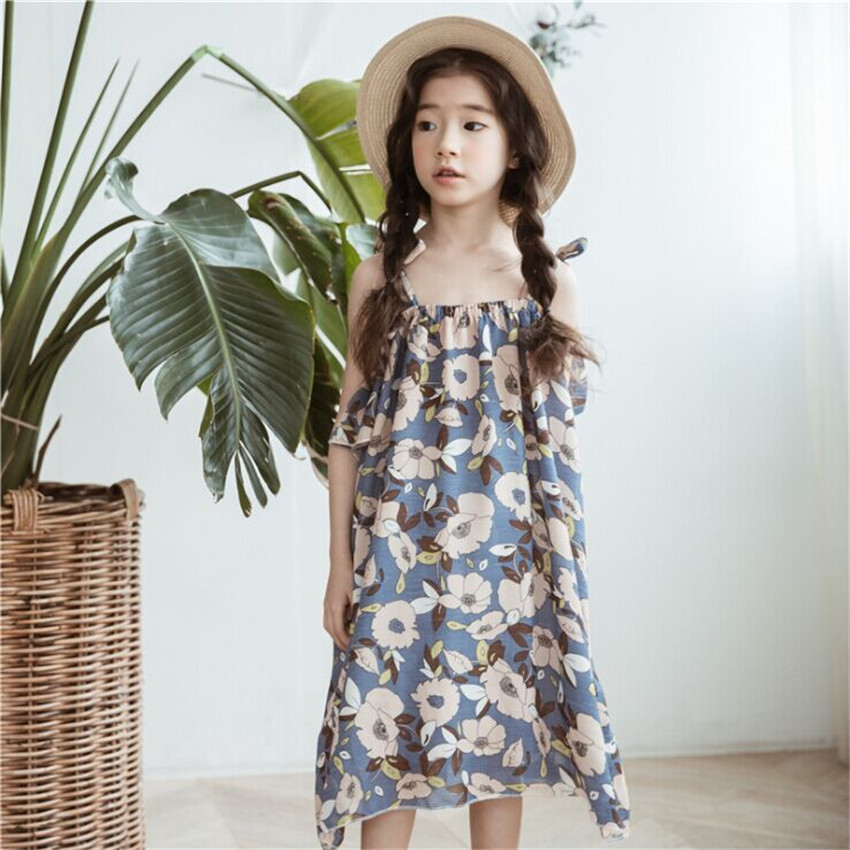 2018 Summer Latest Fashion Floral Strapless Chiffon Dress For Big Girls 4-12 Years 2017 new fashion back cross low cut v neck spaghetti strap dress floral prints chiffon mini sling dress big swing dress