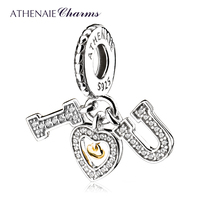 ATHENAIE Genuine 925 Sterling Silver Pave CZ I Love You Dangle Charms Pendant fit Women Charm Bracelets Jewelry Gift