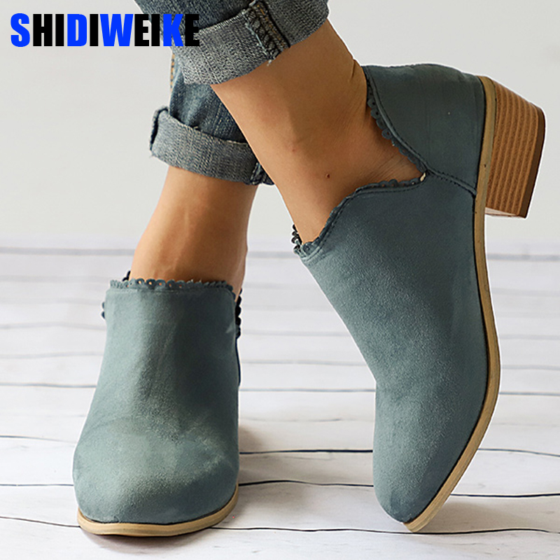Autumn Woman Clog Heel Ankle Boots Plus Size Low Heel Shoes Fashion Slip On Female Short Boot Casual Square Heel Shoe n159 lace up woman ankle boots brown gray short boot low heel motorcycle boot desert boot 2018 autumn winter female fashion shoes