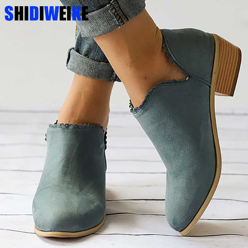 e0fa2acc7cf30 Autumn Woman Clog Heel Ankle Boots Plus Size Low Heel Shoes Fashion Slip On  Female Short Boot Casual Square Heel Shoe n159