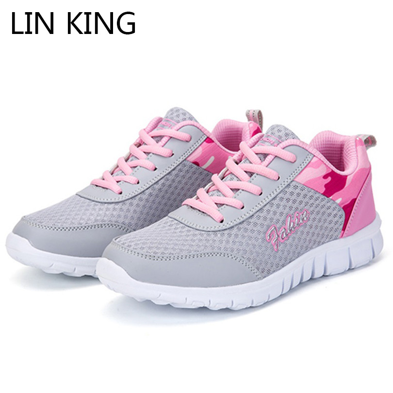 LIN KING Lace Up Fashion Trainers Sneakers Women Casual Shoes Air Mesh Girls Flats Shoes Woman Tenis Feminino Zapatos Mujer 2016 hot low top wrinkled skin cockles trainers kanye west chaussure flats lace up mens shoes zapatos mujer casual shoes
