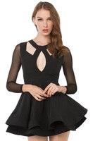 mini dress sexy club beach casual party elegant black long sleeve bodycon ruffle mesh 2018 spring autumn summer runway fashion
