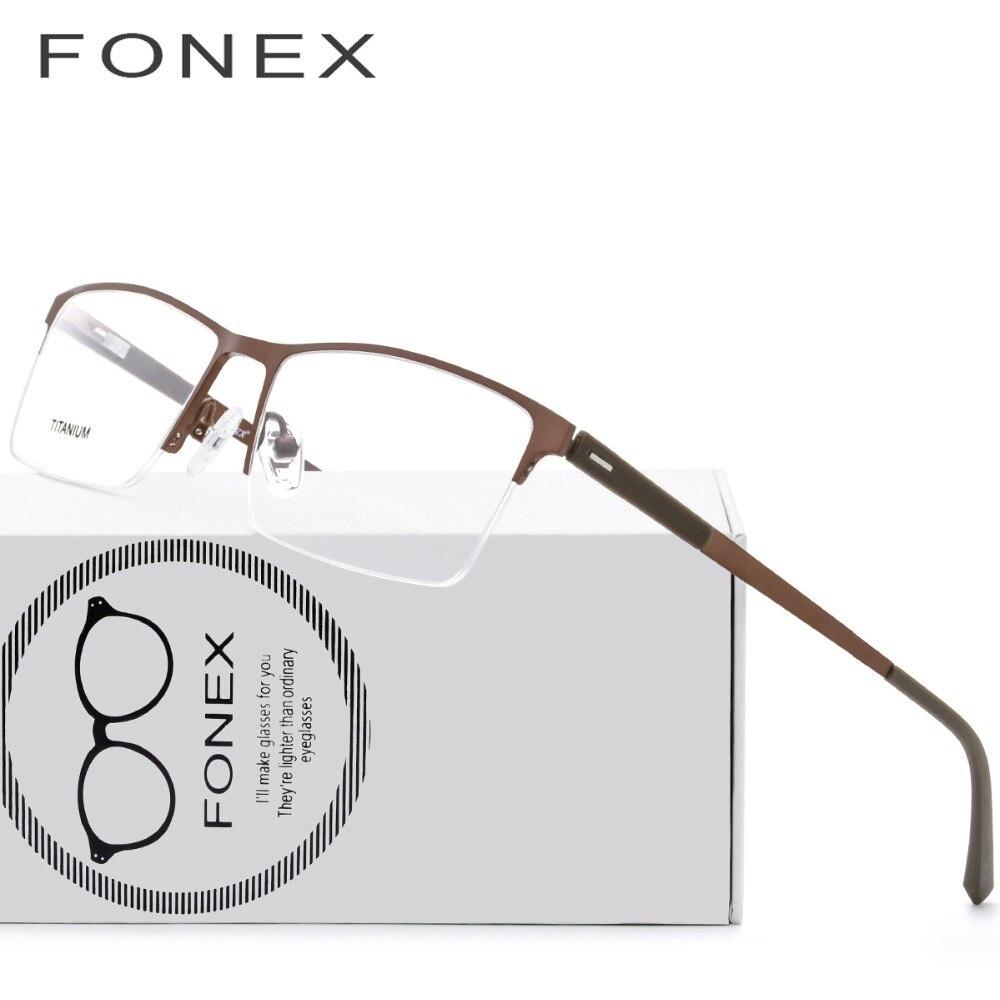 TR90 Semi Óculos Sem Aro de Titânio Óculos Ópticos Quadro Homens Óculos de Prescrição  Óculos de b4cabbd54b