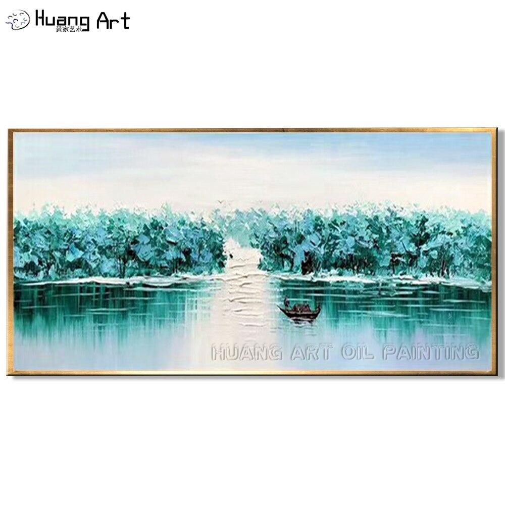 Date peint à la main vert couteau paysage peinture à l'huile sur toile pour décor moderne abstrait Lotus étang paysage mur peinture