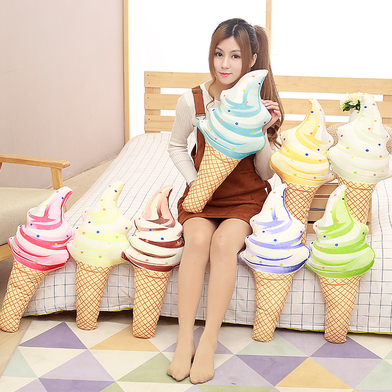 1pc 45cm Creative Plush Toy Icecream Cushion filled with Feather cotton Soft Toy For Kid