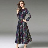 2017 sonbahar ve kış kadın saray baskı dantel elbise kadın Zarif Vintage A-Line elbiseler Ofis lady parti İnce uzun elbise