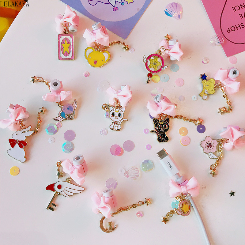 Card Captor Sakura Anime Action Figure Printed USB Data Cable Line Protector Earphone Line Protective Case Wire Mini Cover Doll