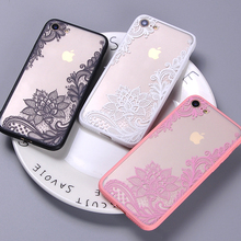 Sexy Fashion Lace Floral Paisley Henna Mandala Wedding Dress Clear Phone Case Fundas For iPhone 7