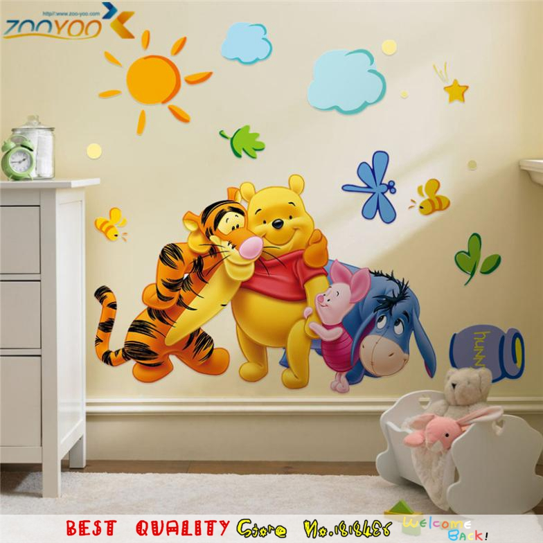 Cartoon Wall Sticker Kids Room Decoration Baby Children Birthday Christmas Gifts Supplies Winnie Pooh Bear Bedroom Decal Nursery In Stickers From Home