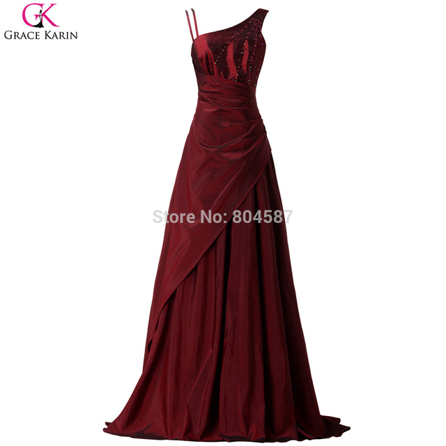 Grace Karin Burgundy Long Evening Dresses 2017 Beaded Evening Gown Mother of the Bride Dress Formal Party Celebrity Dress