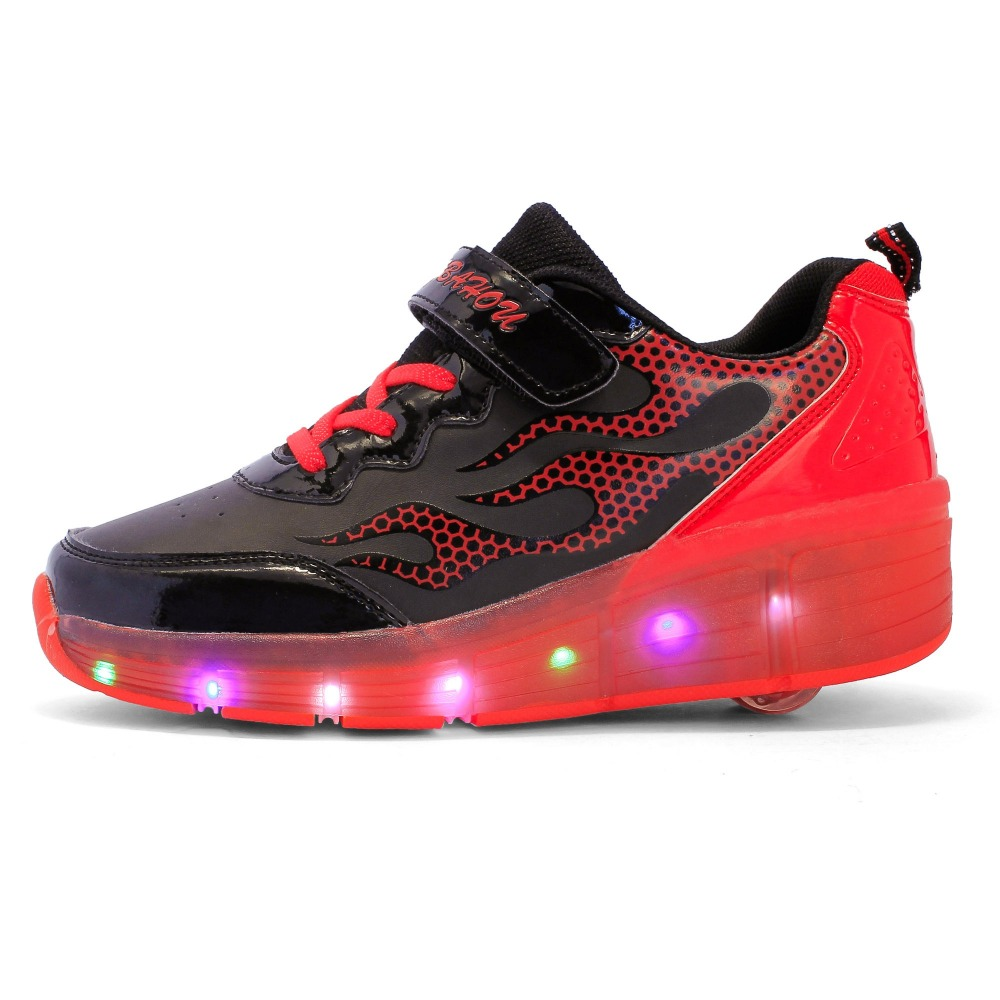 Roller pump shoes - 2017 Led Kids Sneaker With Boys Girls Roller Shoes With Light Fashion Casual Skates Children Glowing