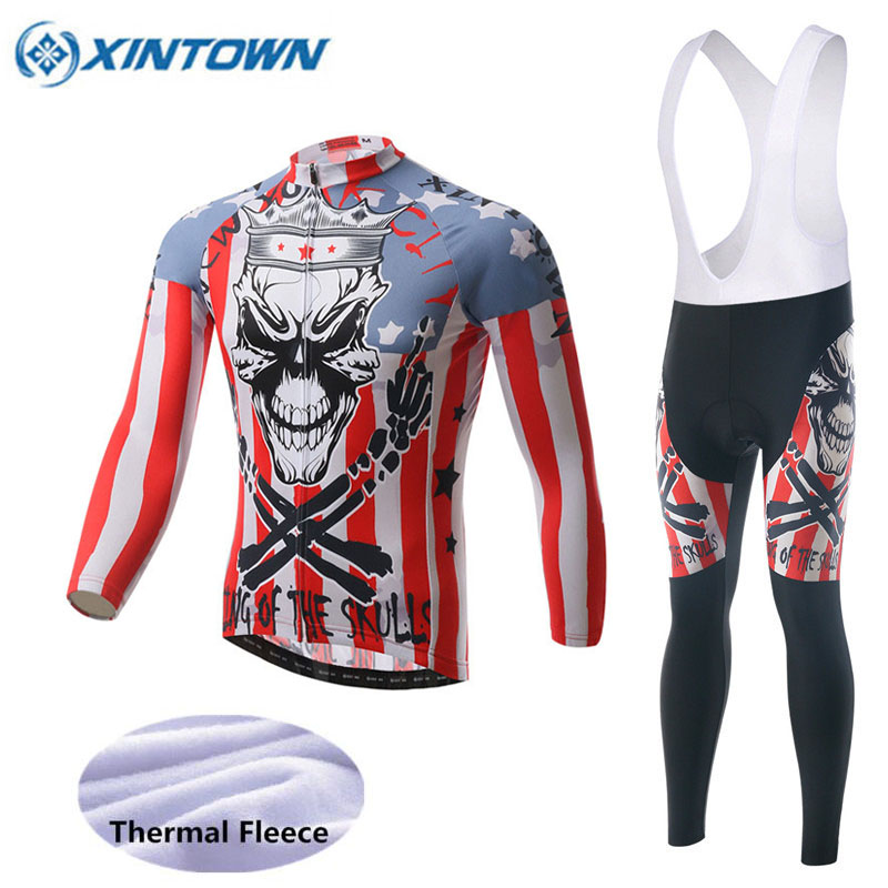 Skeleton Winter Thermal Cycling Clothing 2018 Men Women Fleece Jersey Bike  Bicycle Suits Cycling Kit 7 Colors Ropa Ciclismo 579155eb0