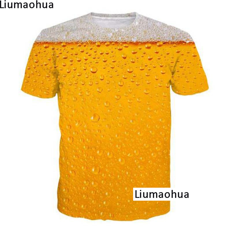 Women's T-shirt Summer Beer 3D Full Print Summer Comfort Men's T-Shirt Tops Fashion Unisex Food T-Shirt image