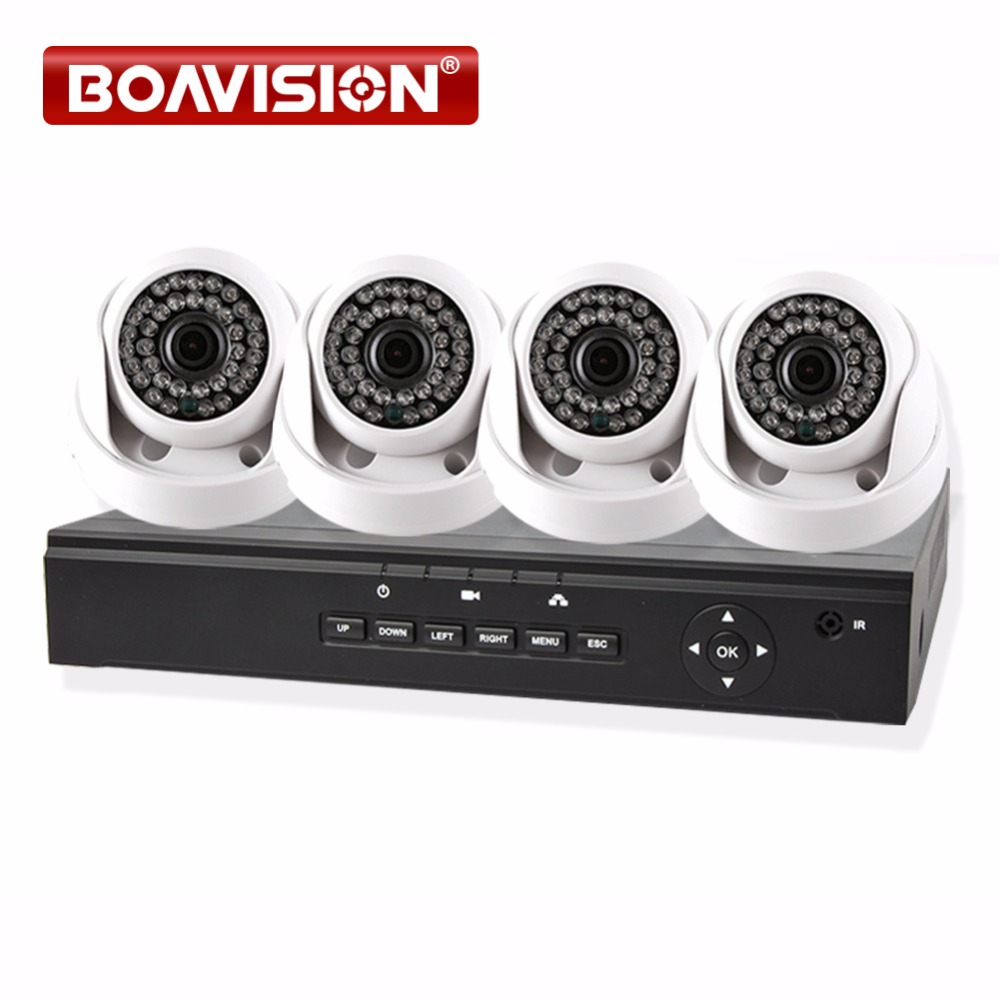 Home Surveillance 4CH CCTV NVR System POE Security 4PCS IP Camera PoE NVR Kit With 4 Indoor Dome PoE IP Camera 720P 1MP P2P 2018 kids clothes autumn spring boy casual plaid pants elastic waist school children full length trousers fashion big boys pants