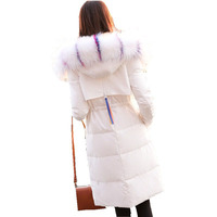 Women Winter Coat Jacket Hooded Colored Collar Big Fur Down Parka Women Thickened Long Parka
