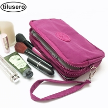 где купить 3 Zippers Makeup Bags With Multicolor Pattern Cute Cosmetics Pouchs For Travel Ladies Pouch Women Cosmetic Bag F035 по лучшей цене