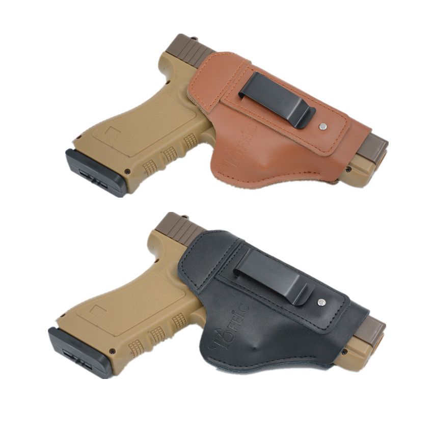 Leather <font><b>Gun</b></font> Holster For <font><b>Glock</b></font> 17 19 25 26 27 43 43x 48 Taurus G2C PT111 PT140 PT938 M&P Shield <font><b>9mm</b></font> Concealed Carry Iwb image