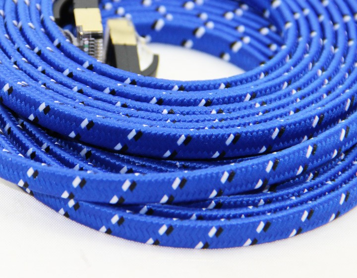 Stoff Geflochtene Ultraflachen CAT-7 10 Gigabit RJ45 Ethernet-kabel Für Modem Router LAN Netzwerk Vergoldet Rj45-stecker