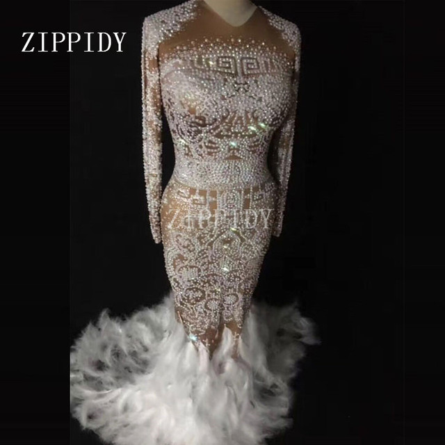 Sparkly Rhinestones Feather Full Stones Long Big Tail Sexy Nude Dress Nightclub Bar Prom Birthday Celebrate Show Costume Dresses