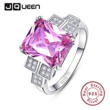 Jqueen banda de boda de lujo 925 plata de la joyería cubic zirconia topacio rosa de la boda y anillos de compromiso s 6-9 nuevos anillos 2016