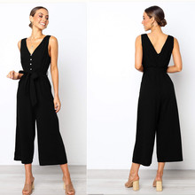 Summer Jumpsuits 2019 New Women Casual Solid Sleeveless V-neck Bow High Waist Loose