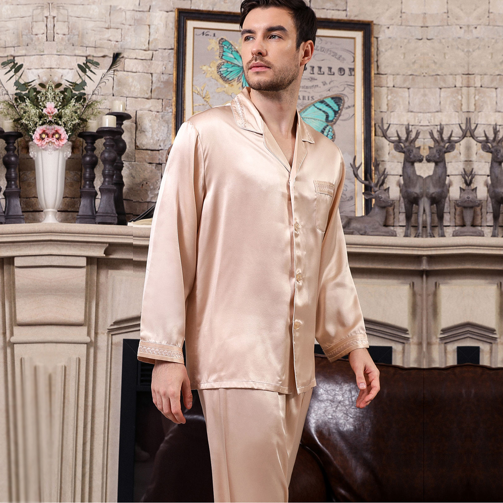 2019 Elegance New 100% Mulberry Silk Mens Pajamas Sets Long Sleeve Solid Color Male Fashion Pyjamas Noble Pure Silk Pijamas