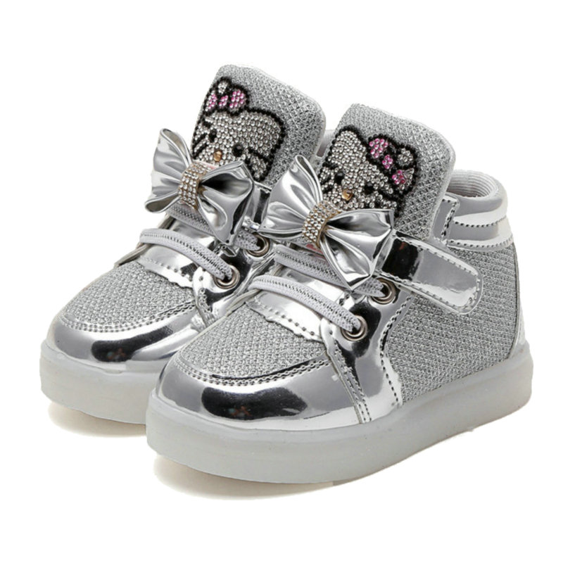 Children Cartoon KT LED shoes 2017 New Spring Kids breathable sports shoes girls flashing LED fashion glowing sneakers 21~36