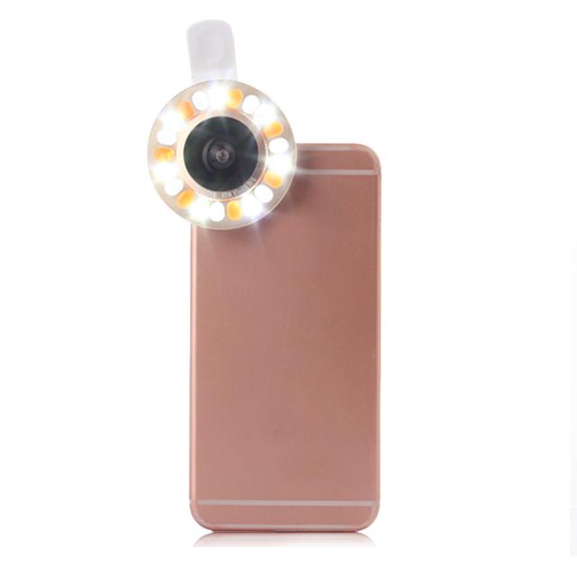 Led luz de relleno de teléfono selfie clips gran angular macro lentes lentes para lenovo p780 s850 p90 vibe k5 lg g2 g3 g5 g4c doogee x5