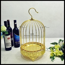 1 PCS Golden single layer bird cage snack stand creative dessert rack tea break plate baking props