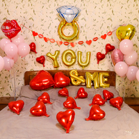 Happy Valentine Day Decoration Letter You Me Foil Balloon Love Heart Kiss Me Red Lips Propose