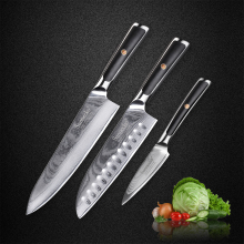 SUNNECKO 3pcs Damascus Kitchen Knives Set 73 Layers Japanese VG10 Core Steel Blade G10 Handle Chef Santoku Paring Cooking Knife