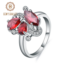 宝石のバレエ 3.15Ct 天然赤ガーネット宝石の花のリング 925 スターリングシルバーリングファイン女性のドロップ送料