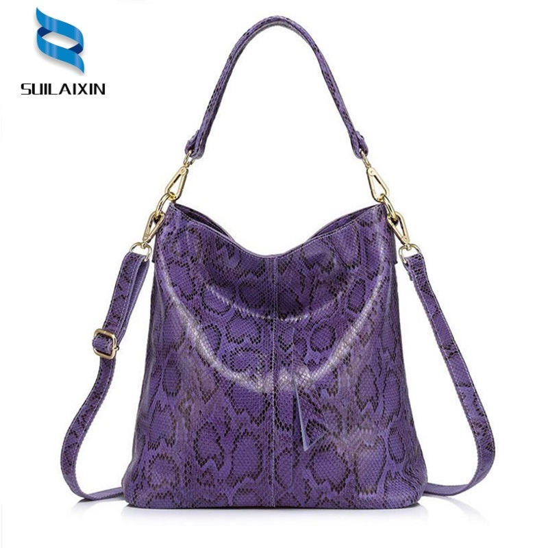 Brand genuine leather women serpentine shoulder bags female handbags large capacity hobos Bag ladies casual tote bag