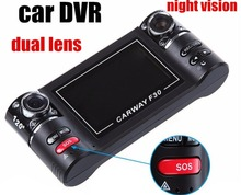 2.5 inches Dual Lens Car Dvr Video Recorder Monitor loop recordering fast shipping