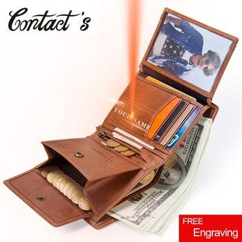 Portefeuille homme en cuir véritable à trois volets portefeuilles pour hommes porte-monnaie à glissière sac d'argent multifonction de conception courte avec porte-carte