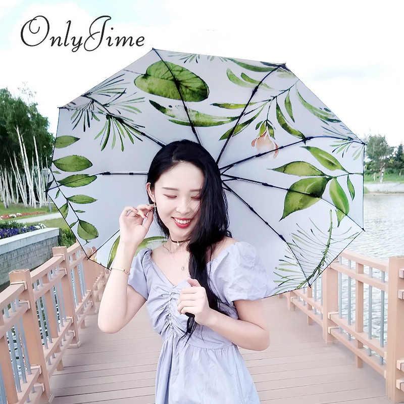 Seulement Jime vert plantation parapluie pluie et soleil double usage trois pliant petit frais enfichable crème solaire Anti-UV parasol