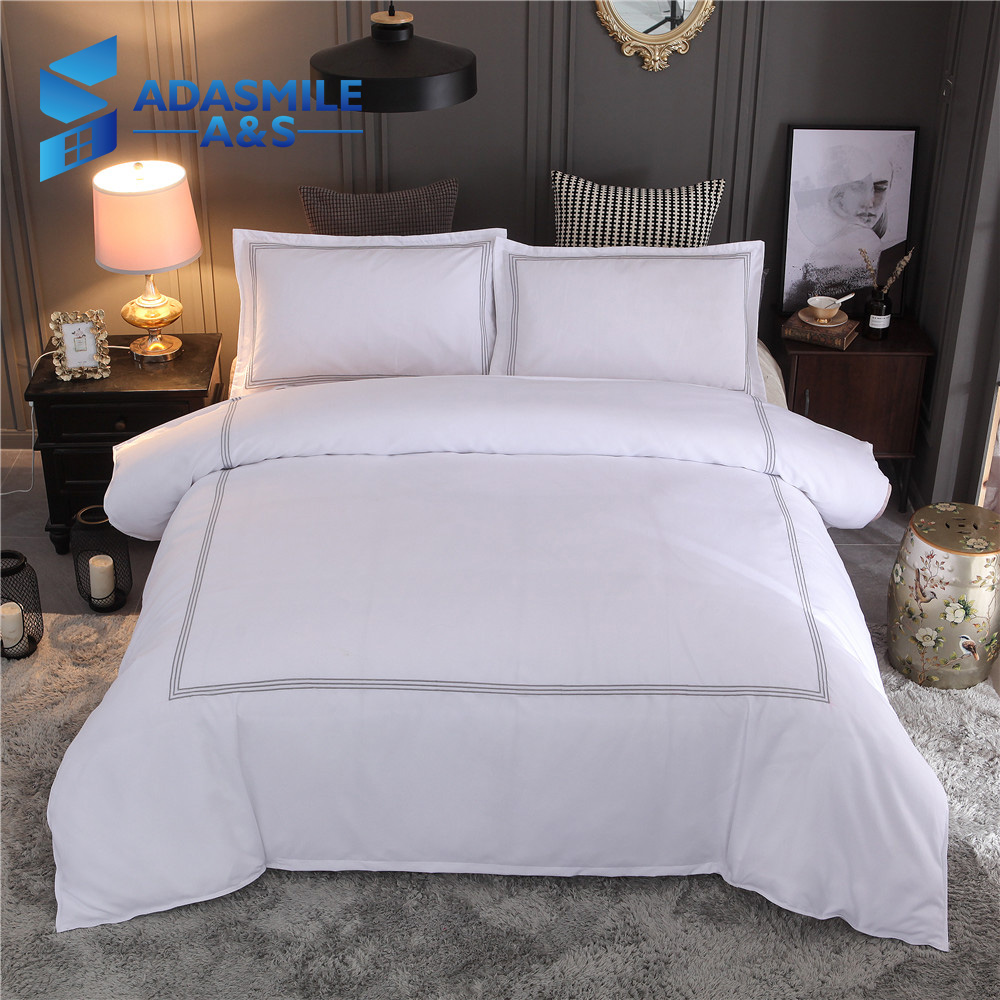 European Brief White Guest Room Bed Linens Soft Comfortable Double Pillowcases Adults US Queen King Bedding