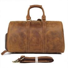 Men's Big Capacity Travel bag Durable Crazy Horse Leather Travel Duffel Real Leather Large Shoulder Weekend Bag X-7077 цена 2017