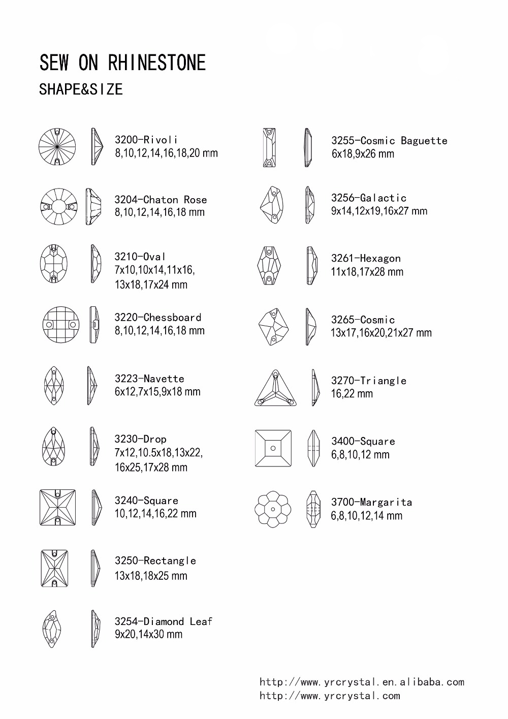 Sew On Shape Chart