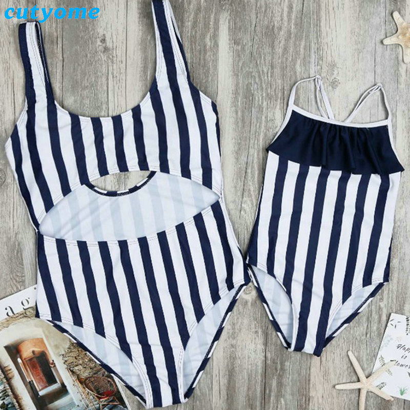 Mother & Daughter Swimsuits Striped Hollow Out Bikini Clothes For Women kids Girl Mom An ...