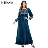 2d0bd424c4 Siskakia Winter 2018 Women Dresses Velvet Embroidered Long Dress Chic  Geometric Embroidery Maxi Dresses Ethnic Muslim