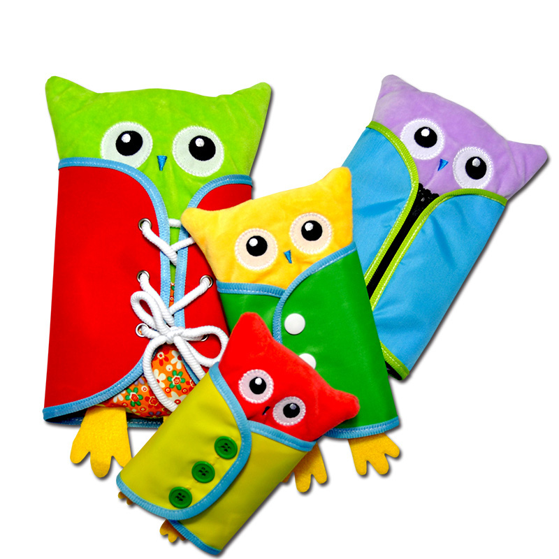 Toddler Montessori Dress Toy Cartoon 4Pcs Owls Zipper Toy Learn To Dress Montessori Life Educational Toys For Girls Boys 2-4 Old