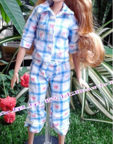 1 Set Long Sleeves Pajamas Sleeping Wear For Blyth Doll Bedroom Blouse Pants Outfit Night Clothes For Barbie