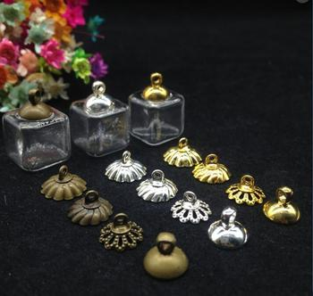 100pieces/lot 13*13mm diy, glass bubble,  transparent square glass handmade jewelry accessories with metal cap pendants
