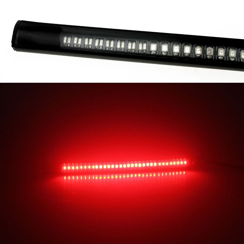 Mayitr Universal Motorcycle Flexible 48 LED SMD Brake Strip Light Motorbike Car Tail Turn Signal Light Decorative Red Amber Lamp