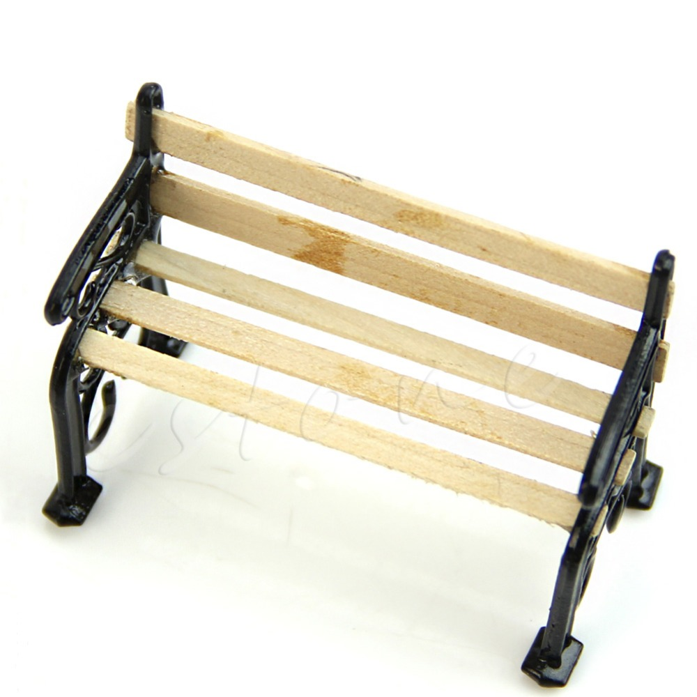Hot Sale New Wooden Bench Metal Dolls House Miniature Garden Furniture Accessories 1 12