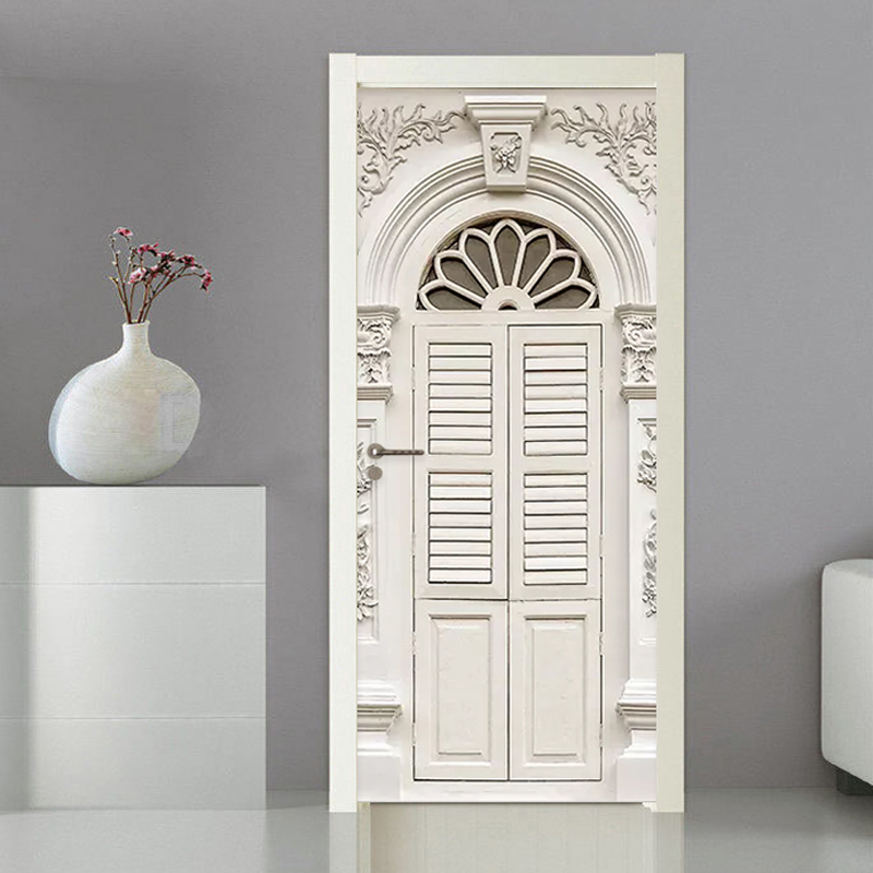 PVC Self-Adhesive Waterproof Door Sticker 3D Stereo White Door Frame Living Room Bedroom European Style Luxury Home Decor Murals