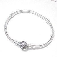 Yeni 925 Ayar Gümüş Bilezik Kristal Kar Tanesi Alkış Yılan Zincir Bileklik Bileklik Fit Kadınlar Boncuk Charm DIY Pandora Takı