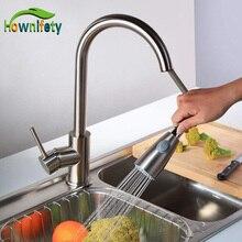 Никель матовый 360 Вращающийся Кухня Раковина кран Одной ручкой вытащить поворотный смеситель