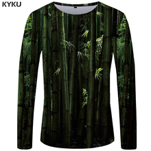 KYKU Brand Bamboo Forest T shirt Men Long sleeve Chinese Style Printed Tshirt Green Japan Streetwear Cool  Graphic